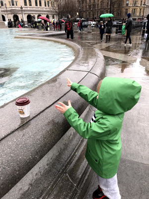 Throwing A Coin In A London Fountain