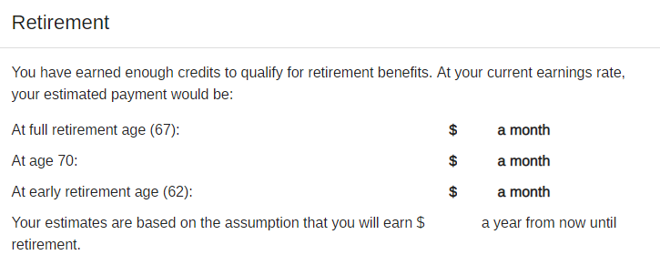 Sample Social Security Estimated Benefits Statement