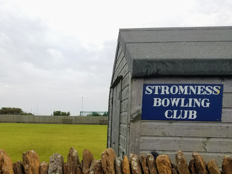Stromness Bowling Club sign and field
